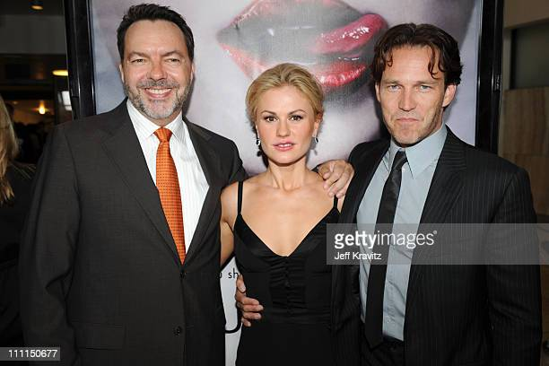 """Executive Producer Alan Ball, Anna Paquin and Stephen Moyer attend HBO's premiere of """"True Blood"""" on September 4, 2008 in Hollywood, California."""