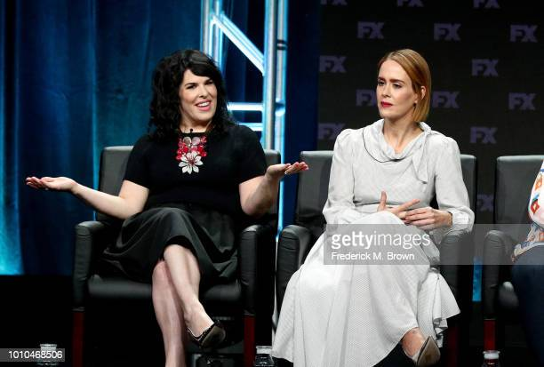 Executive producer Alexis Martin Woodall and actor Sarah Paulson speak onstage at the 'American Horror Story Apocalypse' panel during the FX Network...