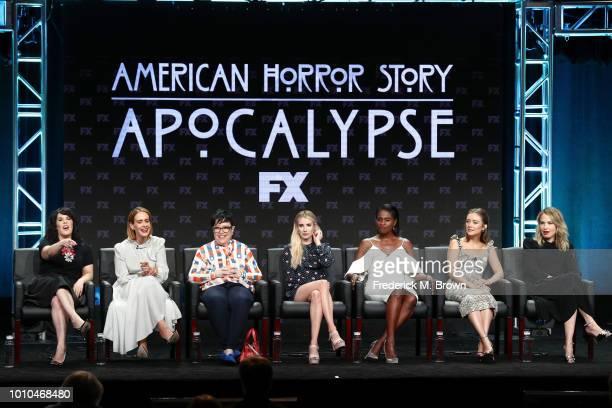 Executive producer Alexis Martin Woodall and actors Sarah Paulson Kathy Bates Emma Roberts Adina Porter Billie Lourd and Leslie Grossman speaks...
