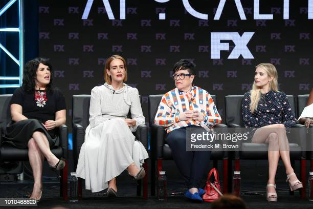 Executive producer Alexis Martin Woodall and actors Sarah Paulson Kathy Bates and Emma Roberts speak onstage at the 'American Horror Story...