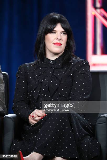 Executive producer Alexis Martin Woodall of the television show 911 listens onstage during the FOX portion of the 2018 Winter Television Critics...