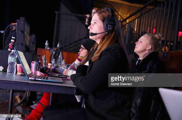 Executive Producer Alison Camillo and producer Kim Burdges give direction during Full Frontal With Samantha Bee Presents Christmas On ICE at...