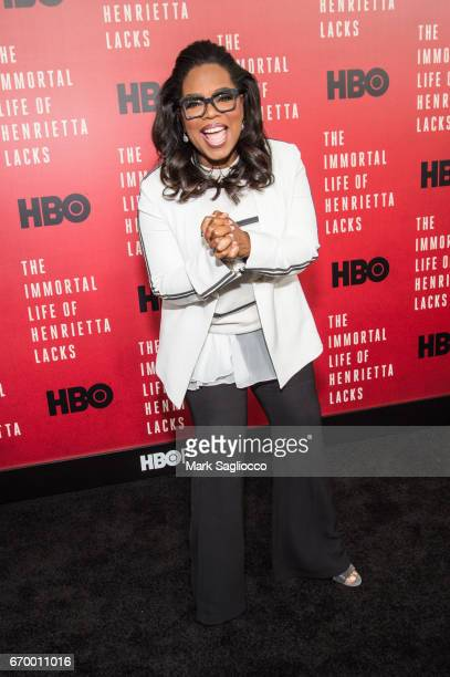 Executive Producer and Actress Oprah Winfrey attends 'The Immortal Life Of Henrietta Lacks' New York Premiere at SVA Theater on April 18 2017 in New...