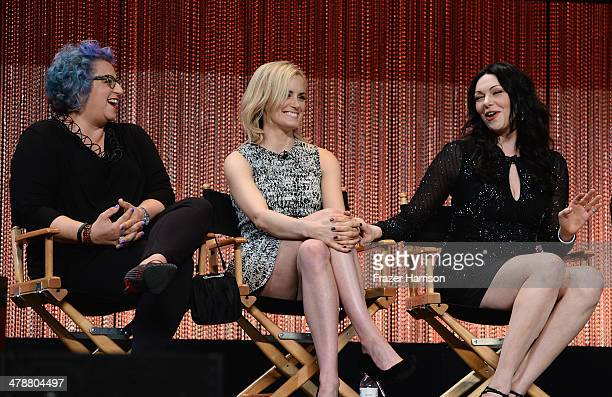 Executive producer and creator Jenji Kohan with actors Taylor Schilling and Laura Prepon on stage at The Paley Center For Media's PaleyFest 2014...