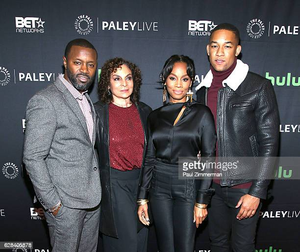 Executive producer and director Rob Hardy actors Jasmine Guy Anika Noni Rose and Peyton Alex Smith attend BET's 'The Quad' Paley Center For Media...