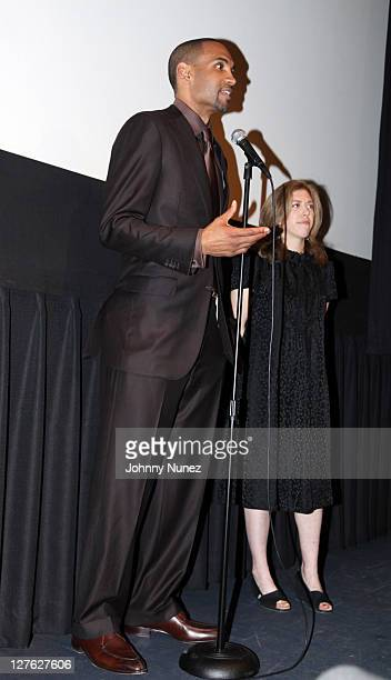 Executive Producer and NBA Player Grant Hill and producer/director Amy Unell speak during the premiere of Starting at the Finish Line The Coach...