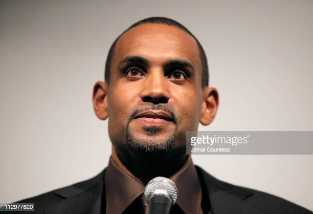 Executive Producer and NBA Player Grant Hill speaks during the intro of a screening of 'Starting At The Finish Line The Coach Buehler Story' at...