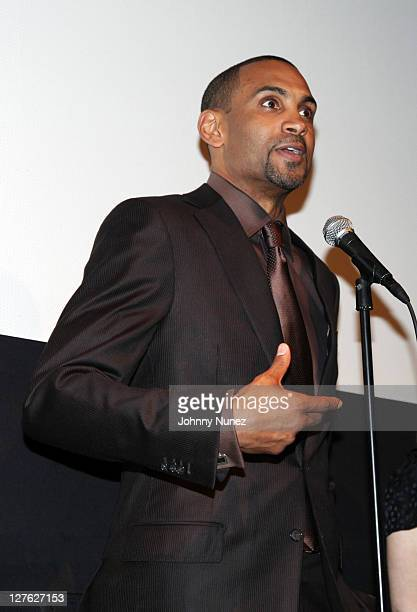Executive Producer and NBA Player Grant Hill speaks during the premiere of Starting at the Finish Line The Coach Buehler Story during the 10th annual...