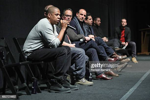 Executive producer and rapper Shawn JayZ Carter speaks during a QA following the TIME The Kalief Browder Story Sundance World Premiere at The Marc...
