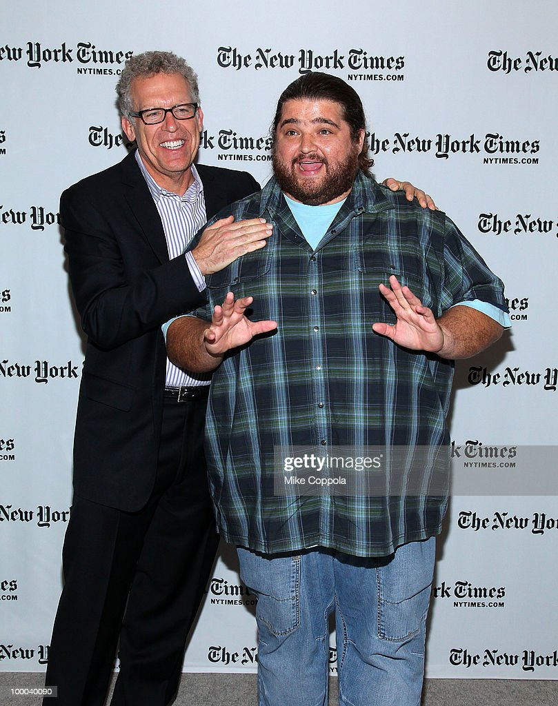 Executive producer and screenwriter for the television series 'Lost' Carlton Cuse (L) and actor Jorge Garcia attend The New York Times' TimesTalk with the creators of ABC's 'Lost' at TheTimesCenter on May 20, 2010 in New York City.