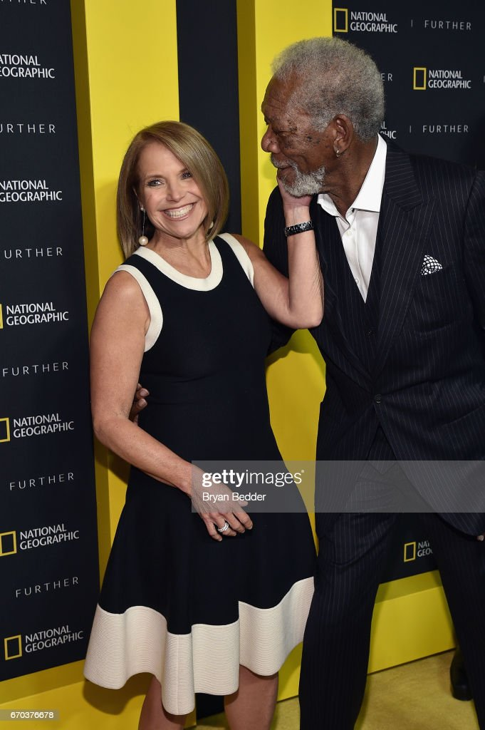 Executive Producer and TV Personality Katie Couric (L) greets actor and host Morgan Freeman at National Geographic's Further Front Event at Jazz at Lincoln Center on April 19, 2017 in New York City.