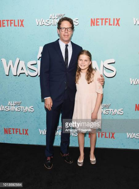 Executive producer Andrew Reich and his daughter arrive at a screening of Netflix's 'All About The Washingtons' at Madera Kitchen Bar on August 8...