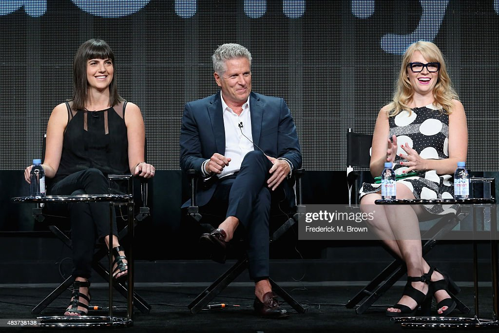 Executive producer Angie Day, TV personalities Donny Deutsch and Emily Tarver speak onstage during the USA Networks' 'donny!' panel discussion at the NBCUniversal portion of the 2015 Summer TCA Tour at The Beverly Hilton Hotel on August 12, 2015 in Beverly Hills, California.