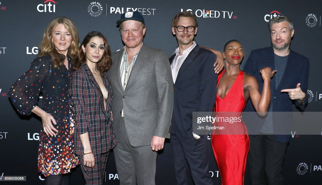 Executive producer Annabel Jones. actors Cristin Milioti, Jesse Plemons, Jimmi Simpson, Michaela Coel and creator/executive producer Charlie Brooker attend the PaleyFest NY 2017 'Black Mirror' screening at The Paley Center for Media on October 6, 2017 in New York City.