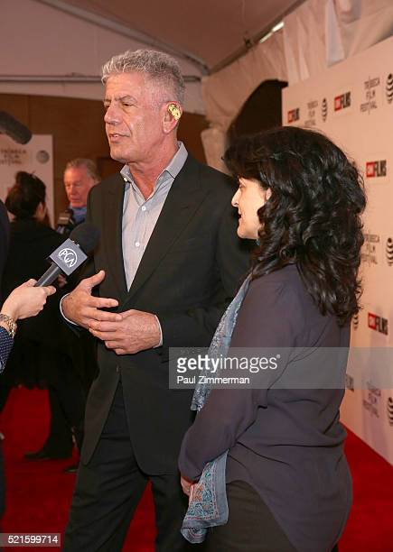 Executive Producer Anthony Bourdain and Director Lydia Tenaglia at CNN Films Jeremiah Tower The Last Magnificent at TFF Panel Party on April 16 2016...