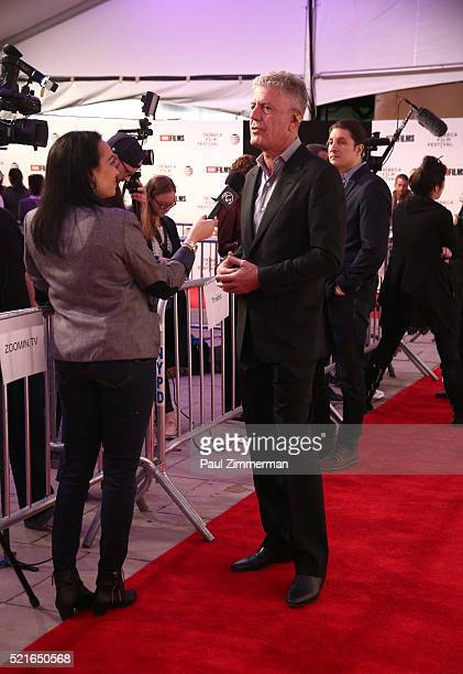 Executive Producer Anthony Bourdain is being interviewed at CNN Films Jeremiah Tower The Last Magnificent at TFF Panel Party on April 16 2016 in New...