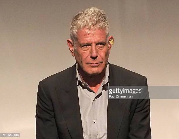 Executive Producer Anthony Bourdain speaks on stage at CNN Films Jeremiah Tower The Last Magnificent at TFF Panel Party on April 16 2016 in New York...