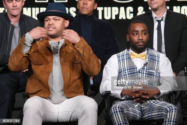 Executive producer Anthony Hemingway and actor Marcc Rose of 'Unsolved The murders of Tupac and The Notorious BIG' on USA speak onstage during the...