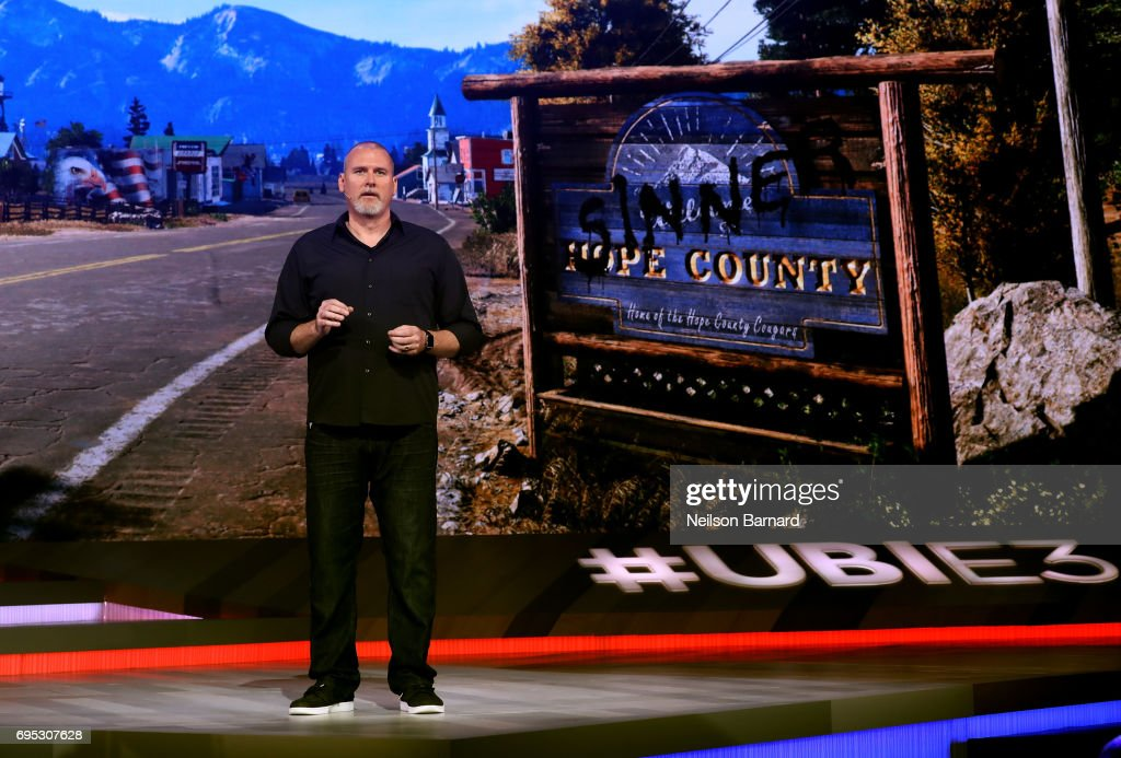 Executive Producer at Ubisoft Montreal Dan Hay speaks onstage during the Ubisoft E3 2017 conference at Orpheum Theatre on June 12, 2017 in Los Angeles, California.