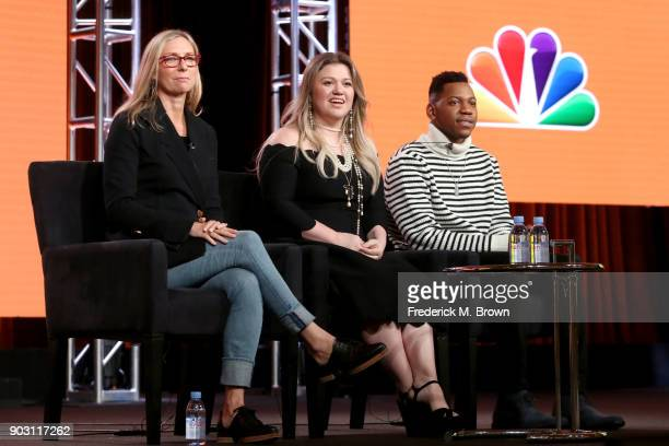 Executive producer Audrey Morrissey singer/Coach Kelly Clarkson and Season 12 winner Chris Blue of 'The Voice' speak onstage during the NBCUniversal...