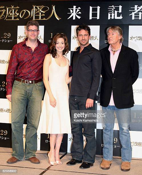 Executive producer Austin Shaw actress Emmy Rossum actors Gerard Butler and film director Joel Schumacher attend a press conference to promote...