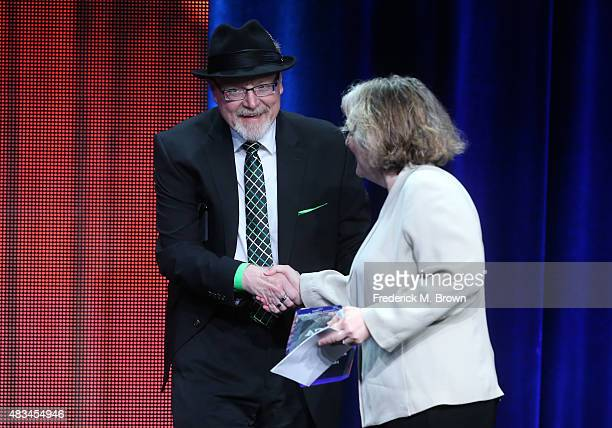 Executive producer Barbara Gaines accepts the TCA Heritage Award for the 'Late Show with David Letterman' from TCA President Scott D. Pierce onstage...