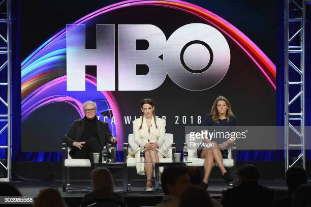 Executive producer Barry Levinson actor Riley Keough and consultant Sara Ganim speak on stage at HBO Winter TCA 2018 on January 11 2018 in Pasadena...