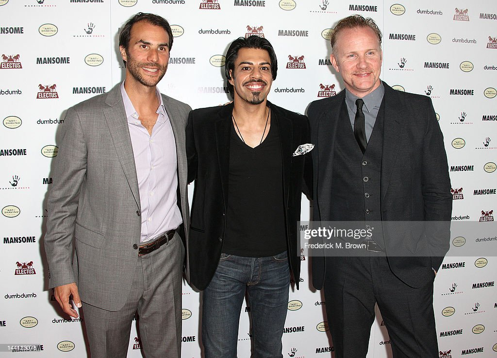 Executive producer Ben Silverman clothing buyer Ricky Manchanda and director Morgan Spurlock attend the premiere of Morgan Spurlock's 'Mansome' at the ArcLight Cinemas on May 9, 2012 in Hollywood, California.