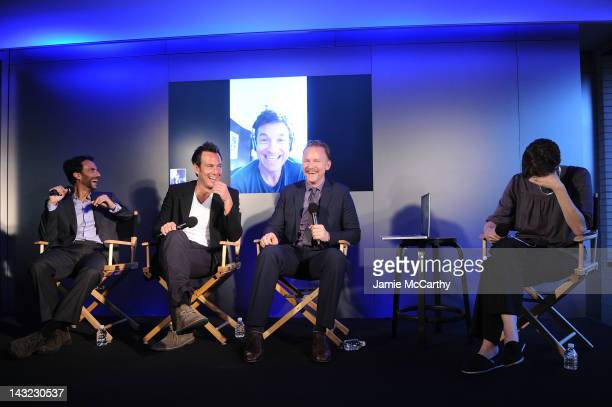 Executive producer Benjamin Silverman actors Will Arnett Jason Bateman and filmmaker Morgan Spurlock speak during 'MANSOME' at Apple's 'Meet the...