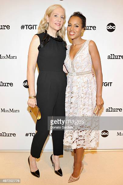 Executive producer Betsy Beers wearing MaxMara and actress Kerry Washington attend 'MaxMara Allure Celebrate ABC's #TGIT' at MaxMara on November 14...