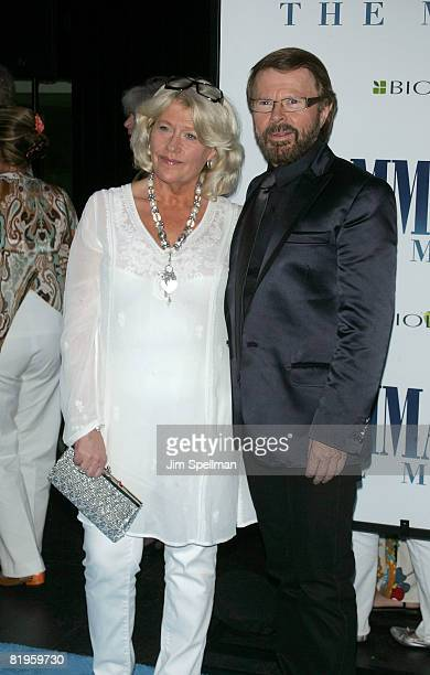 Executive Producer Bjorn Ulvaeus and guest attend the premiere of 'Mamma Mia' at the Ziegfeld Theatre on July 16 2008 in New York City