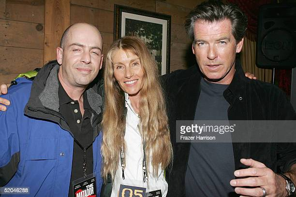 Executive producer Bob Yari producer Beau St Clair and actor Pierce Brosnan arrive at the Matador Premiere Party at Easy Street Brasserie during the...