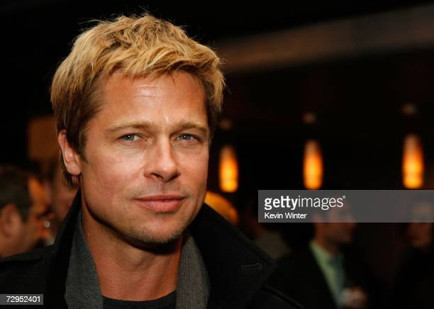 Executive producer Brad Pitt poses at the after party at Newmarket Films premiere of God Grew Tired of Us at the Pacific Design Center on January 8...