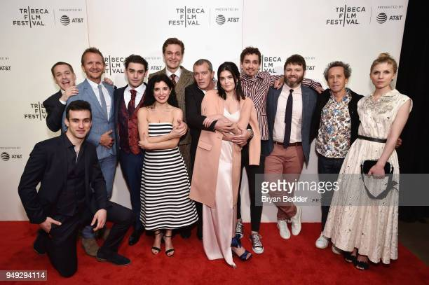 Executive producer Brian Grazer poses for a photo with the cast during the National Geographic premiere screening of 'Genius Picasso' on April 20...