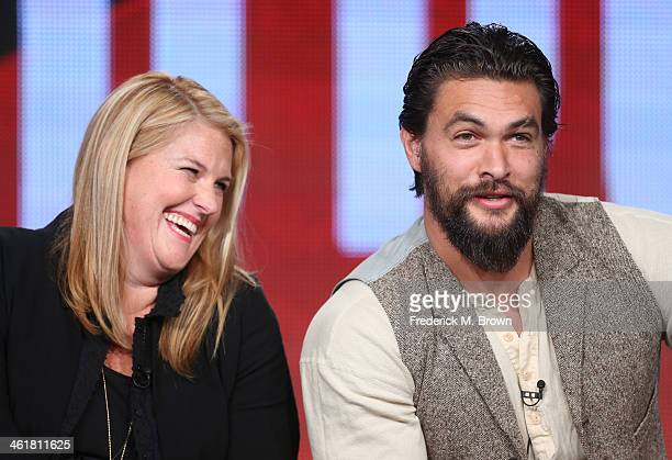 Executive Producer Bridget Carpenter and actor Jason Momoa speak onstage during the 'Sundance Channel - The Red Road' panel discussion at the...