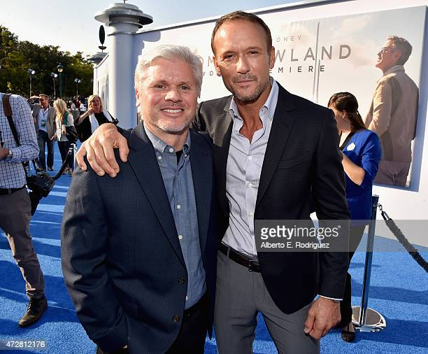 Executive producer Brigham Taylor and singer Tim McGraw attend the world premiere of Disney's Tomorrowland at Disneyland Anaheim on May 9 2015 in...