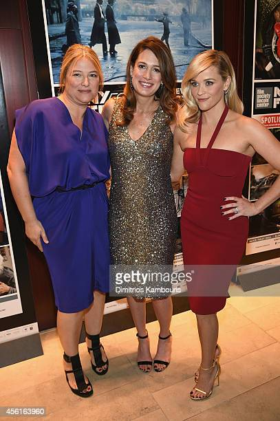 Executive producer Bruna Papandrea screenwriter Gillian Flynn and actress Reese Witherspoon attend the Opening Night Gala Presentation and World...