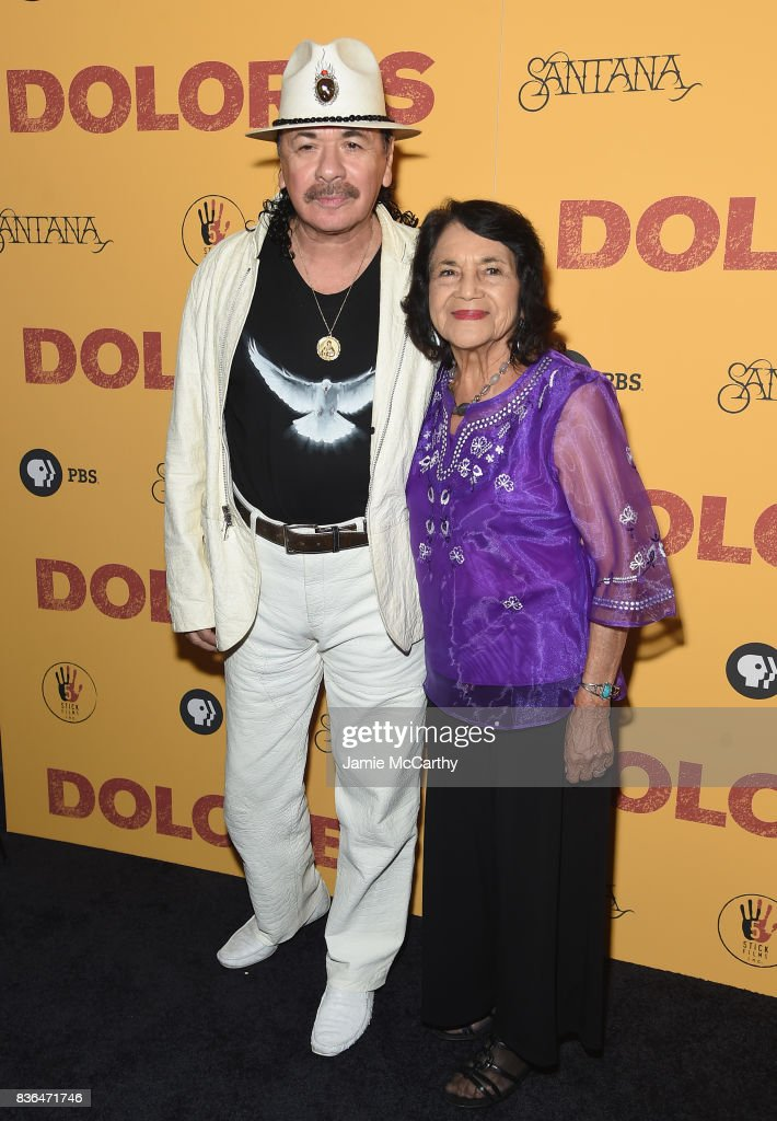 Executive Producer Carlos Santana and documentary subject Dolores Huerta attend the 'Dolores' New York Premiere at The Metrograph on August 21, 2017 in New York City.