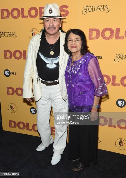 Executive Producer Carlos Santana and documentary subject Dolores Huerta attend the 'Dolores' New York Premiere at The Metrograph on August 21 2017...