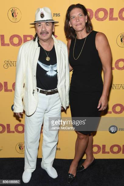 Executive Producer Carlos Santana and PBS Distribution CoPresident Andrea Downing attends the 'Dolores' New York Premiere at The Metrograph on August...