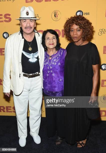 Executive Producer Carlos Santana documentary subject Dolores Huerta and actress Alfre Woodard attend the 'Dolores' New York Premiere at The...