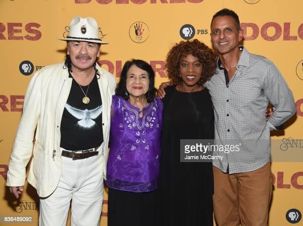 Executive Producer Carlos Santana documentary subject Dolores Huerta actress Alfre Woodard and director Brian Bratt attend the 'Dolores' New York...