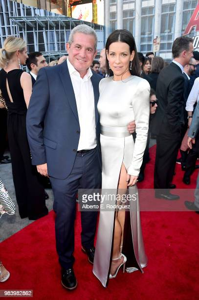 Executive producer Charles Newirth and actor Evangeline Lilly attend the Los Angeles Global Premiere for Marvel Studios' 'AntMan And The Wasp' at the...