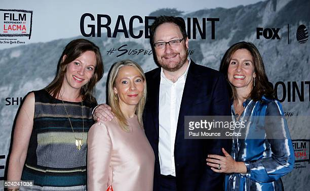 Executive producer Chris Chibnall and his guests during the red carpet premiere of the FOX series 'Gracepoint' held at the LACMA Museum's Bing...