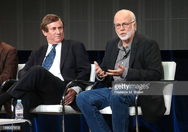 """Executive Producer Chris Whipple and Producer David Hume Kennerly speak onstage at the """"The Presidents' Gatekeepers"""" panel discussion during the..."""