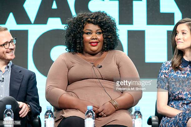Executive producer Christian Lander actors Nicole Byer and Jen D'Angelo speak onstage during the 'Loosely Exactly Nicole' panel discussion at the MTV...