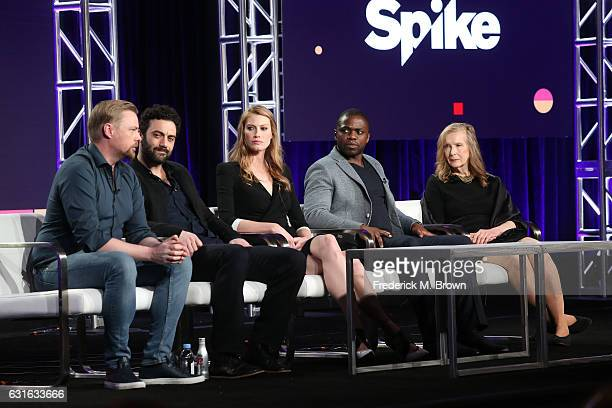 Executive producer Christian Torpe actors Morgan Spector Alyssa Sutherland Okezie Morro and Frances Conroy of the series 'The Mist' speak onstage...
