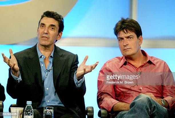 Executive Producer Chuck Lorre and actor Charlie Sheen attend the panel discussion for 'Two And A Half Men' during the CBS 2005 Television Critics...