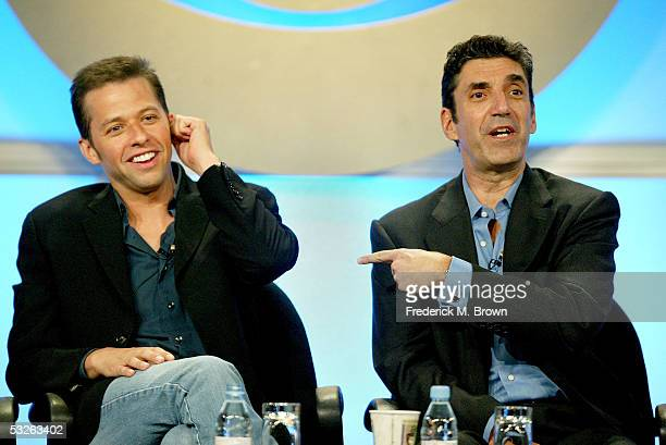Executive Producer Chuck Lorre and actor Jon Cryer attend the panel discussion for 'Two And A Half Men' during the CBS 2005 Television Critics...
