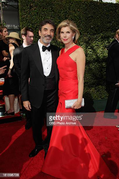 Executive Producer Chuck Lorre and Christine Baranski from The Good Wife on the red carpet for the 65th Primetime Emmy Awards which will be broadcast...
